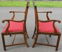 Set of Eight Mahogany Dining Chairs in Chippendale Style